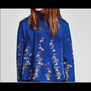 Zara - NWT Faux Suede Embroidered Top - Size S